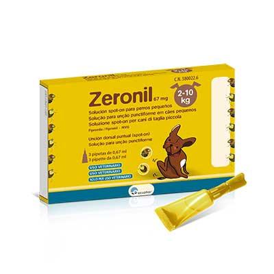 Zeronil 67mg 2-10kg PERRO PEQUEÑO 3 Pipetas