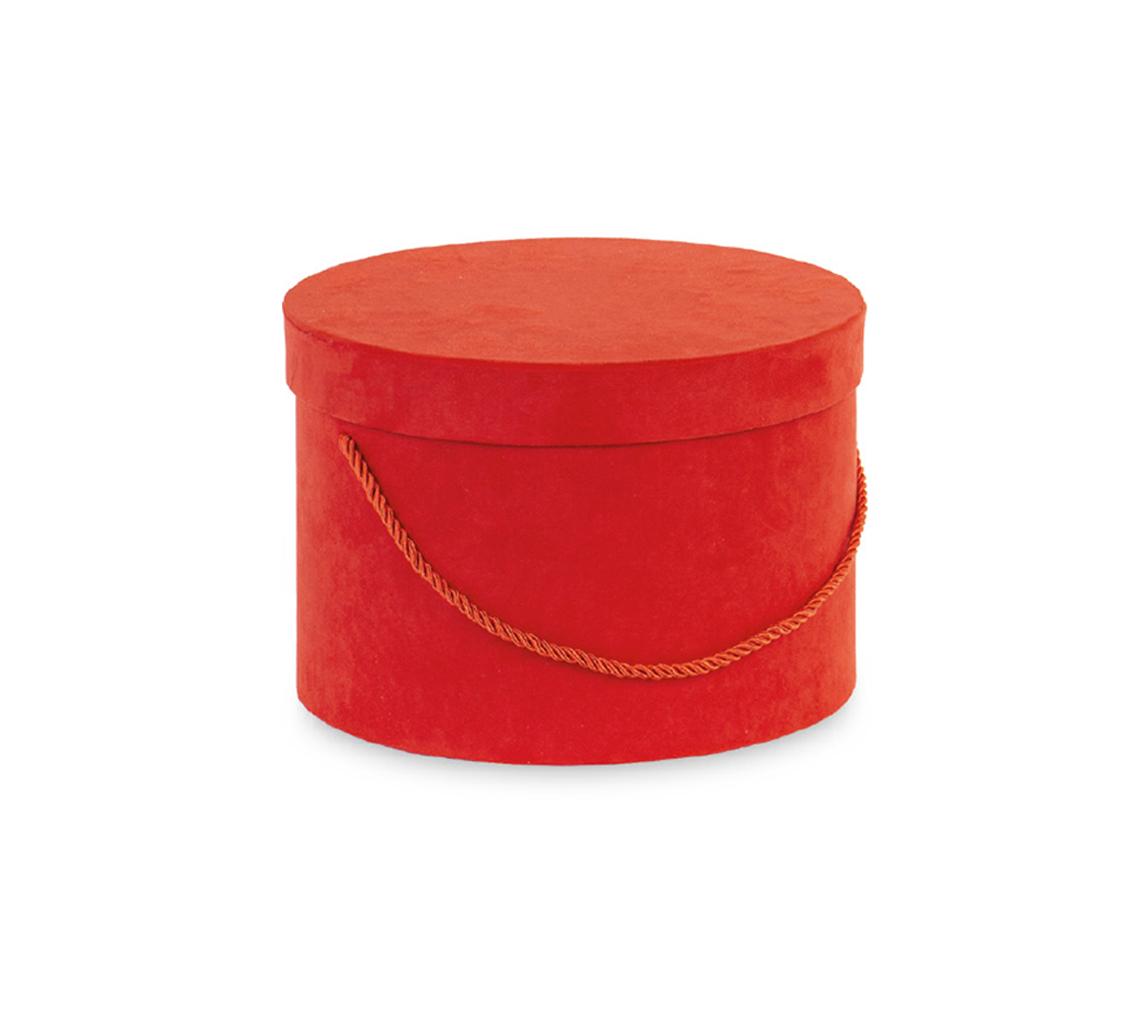 Caja redonda roja terciopelo con cordón/cj 2 ud