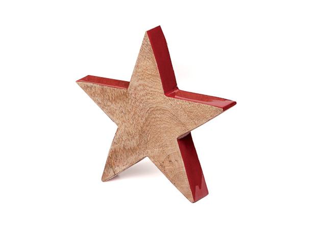Estrella madera con borde rojo