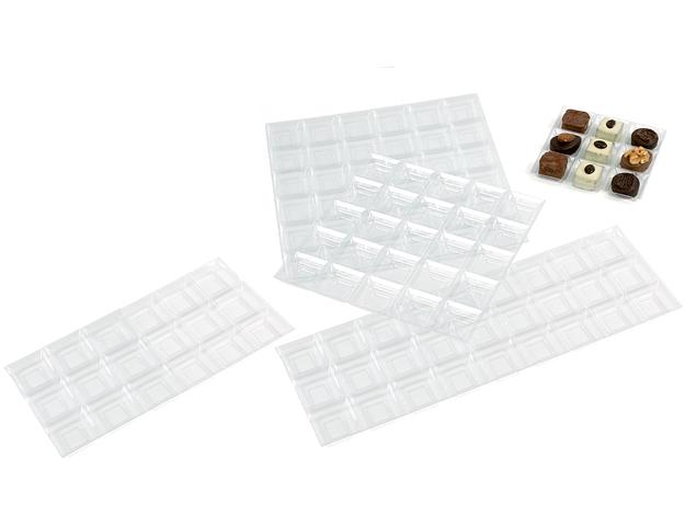Alvéole transparent pour 64 chocolats