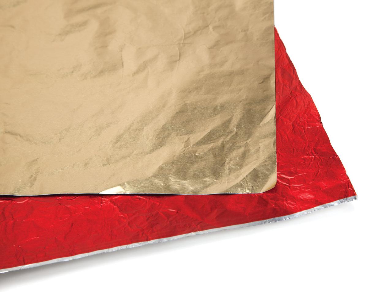 Feuilles alu or/argent 40x60cm/paq.120u