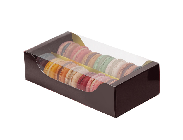 Caja 12 macarons marrón-oro