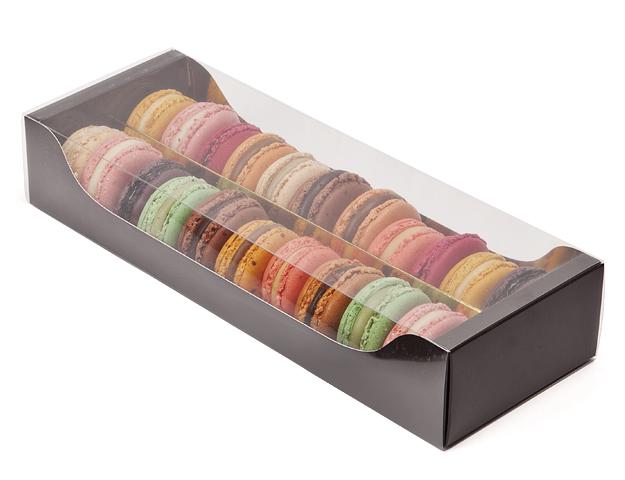 Caja 18 macarons marrón-oro