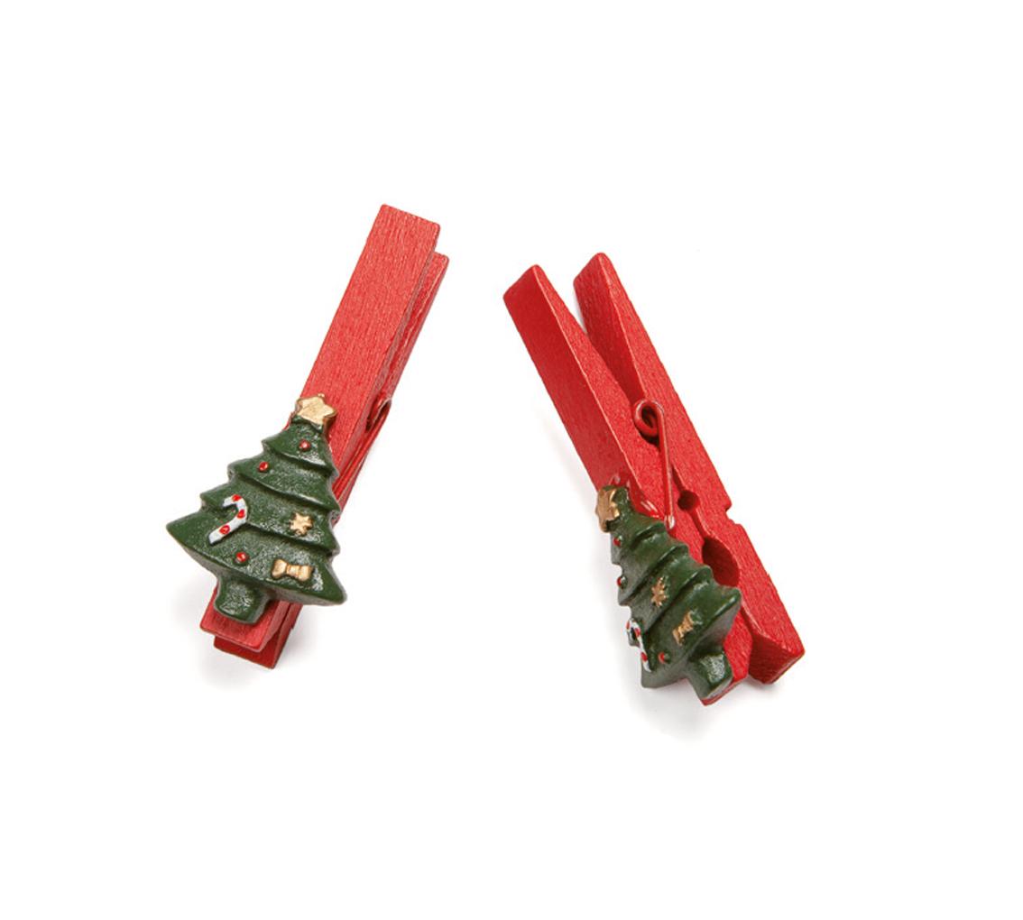Set 20 pinzas rojas con arbol Navidad/cj 1 set