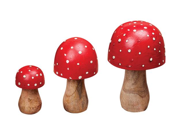 Set 9 champignons en bois