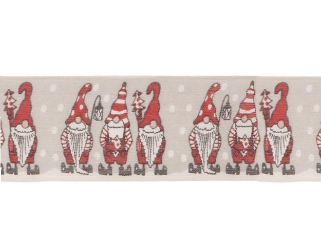 Cinta Papa Noel topos blanco 40mm - 20mt