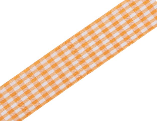 Ruban Vichy orange laitonné 40mm - 20mt