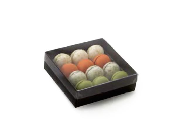 Caja marron para macarons pequeños con alveolo