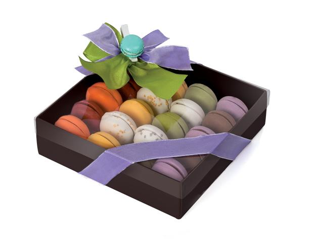 Caja marrón para macarons pequeños con alveolo