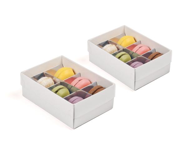 Caja blanca para macarons pequeños con separadores