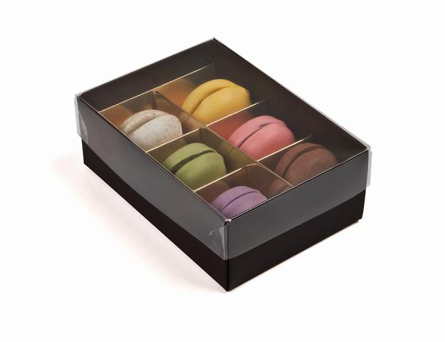 Caja marron para macarons pequeños con separadores
