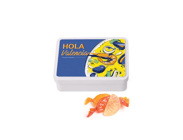 Lata Mediana Valencia 100 gr caramelo gajos