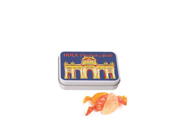 Lata Pequeña Madrid Alcalá 50 gr caramelo gajos