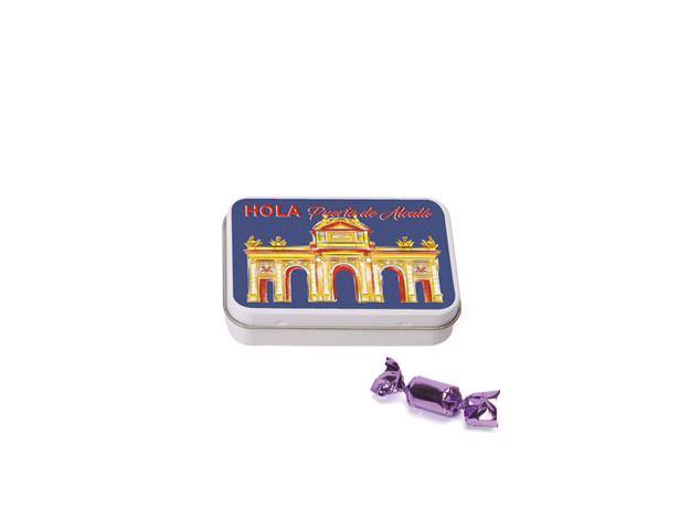 Lata Pequeña Madrid Alcalá 40 gr caramelo mini violeta