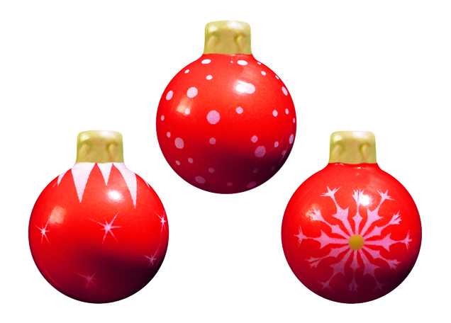 72 Boules de Noël choc. blanc,   Rouge  , Ø 3 cm,