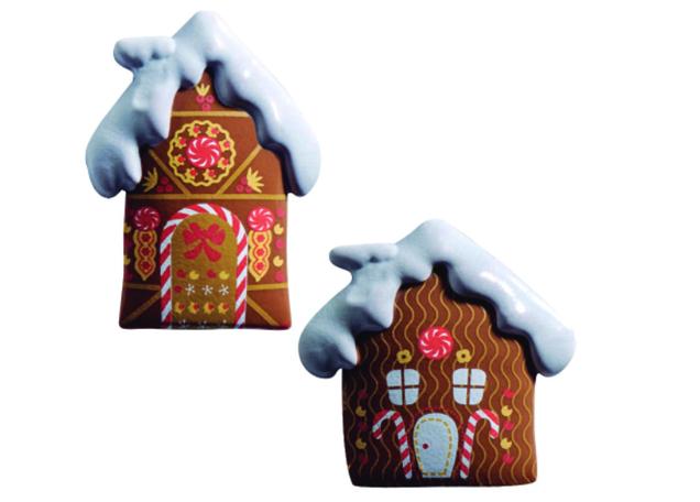 90 Gingerbread house milk choc 2 designs